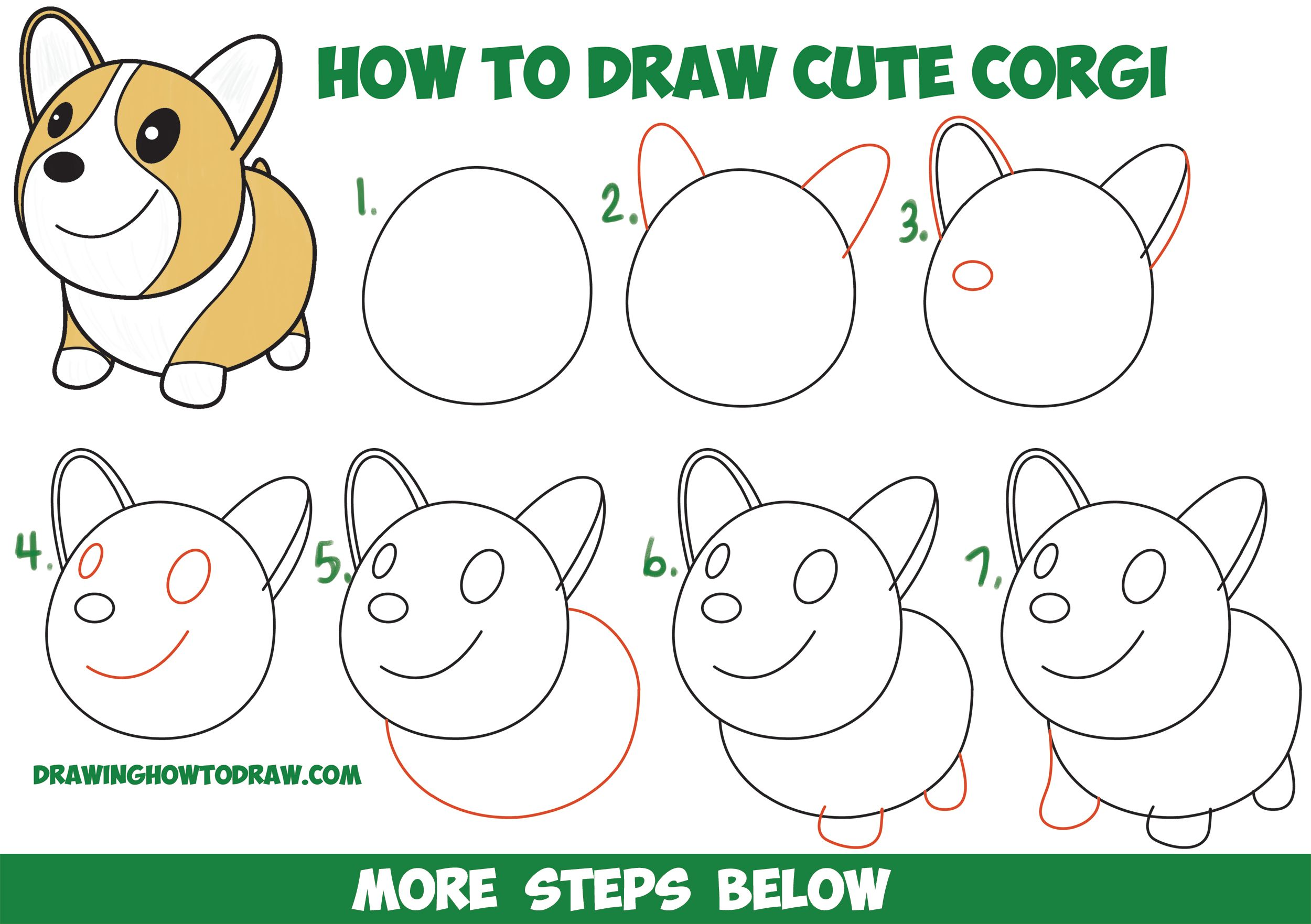 How To Draw A Cute Corgi Cartoon Kawaii Chibi Easy Step By