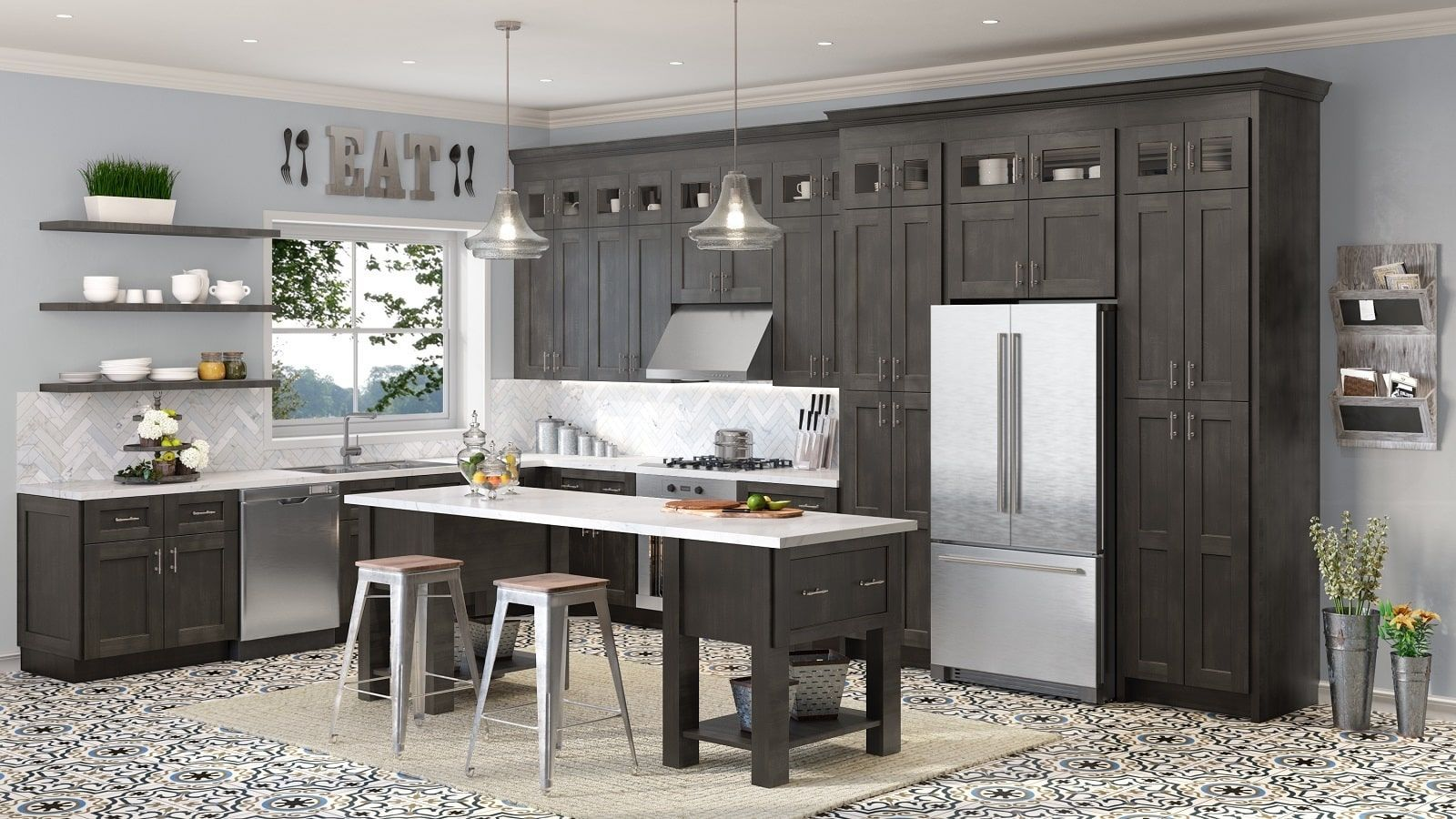 Charcoal Grey Shaker Sample Door Stained Kitchen Cabinets Rta Kitchen Cabinets Assembled Kitchen Cabinets