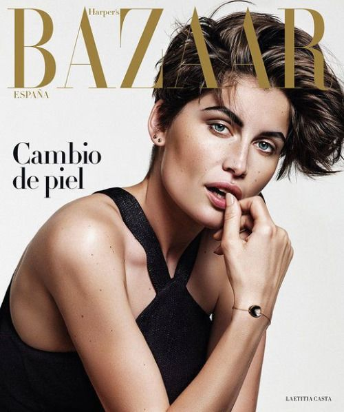 Designer Icon Mr. Yves Saint Laurent's muse and the french Marianne: the beauty icon Laetitia Casta in fresh bob haircut for Harper's Bazaar Spain Magazine cover August 2015 issue.