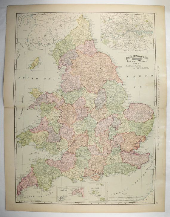 1898 very large map of england wales map united kingdom map vintage england map london england gift for family wedding gift for couple available from