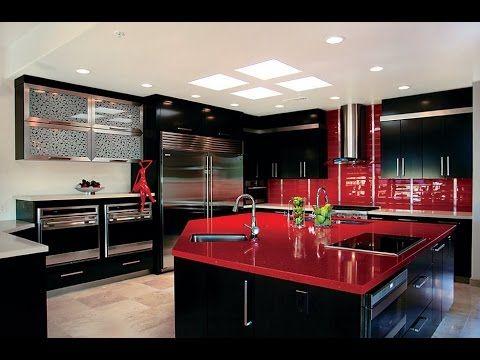 Cocinas modernas de color rojo, con isla, americanas, con