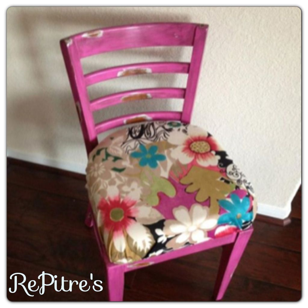 Pink Shabby Chic Decor Upholstered Chair Vanity Stool