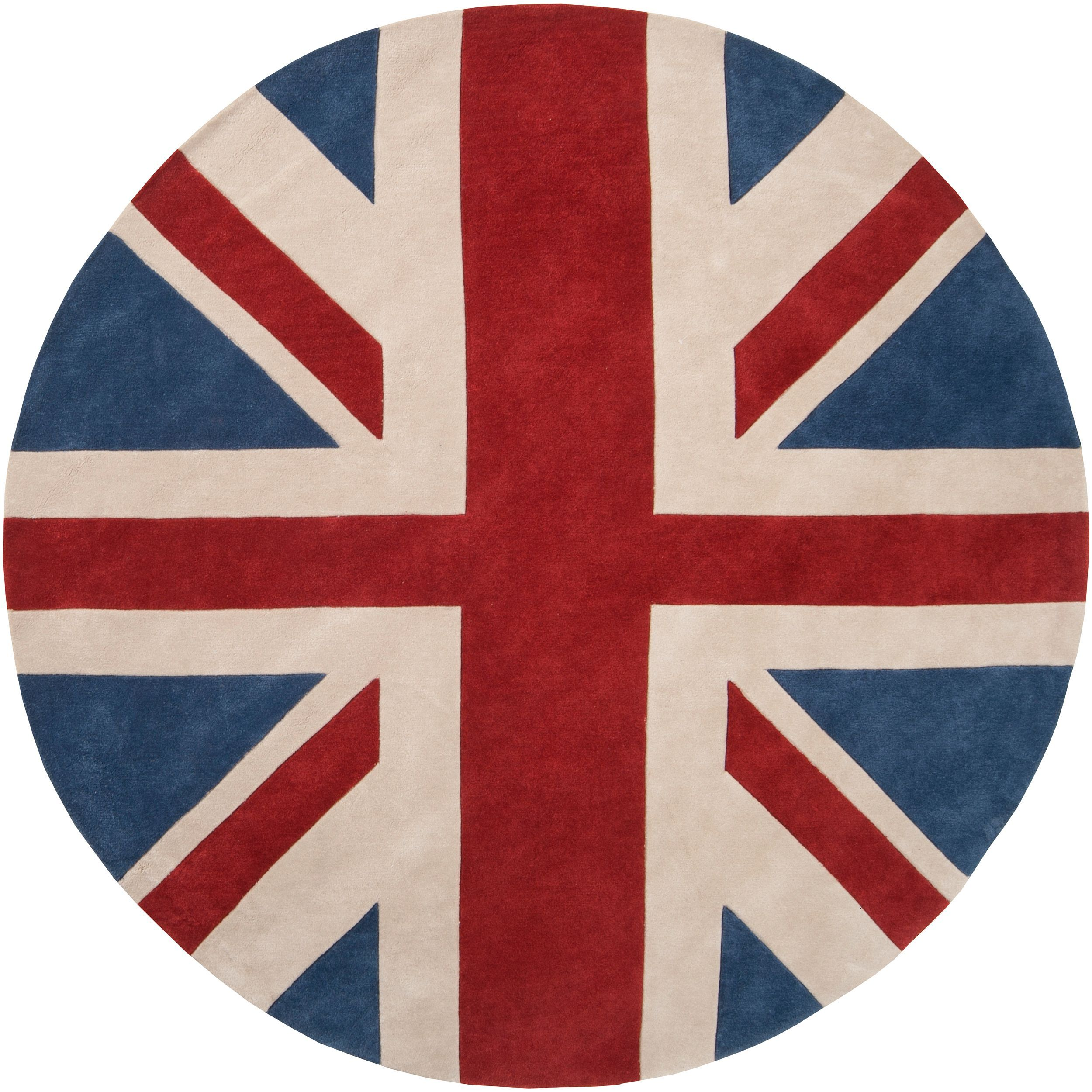 Handtufted Red Hillsborough East Union Jack Rug (8' Round