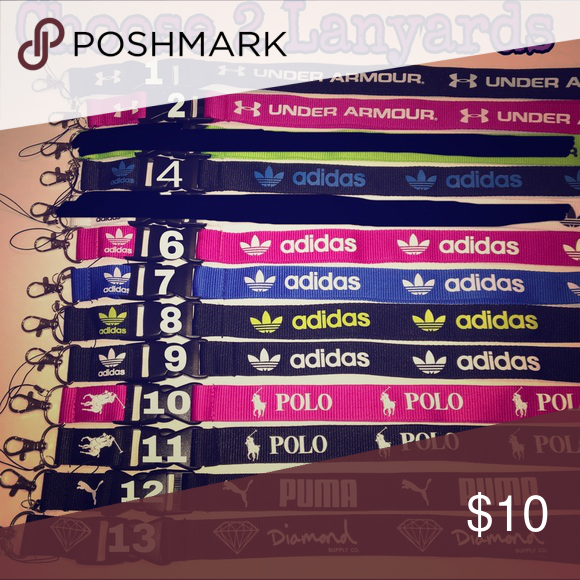 Choose 2 Lanyards Adidas/ Under Armour/ POLO Yes all colors are available✳️  simply choose by commenting which number u would like once purchase has been made. No tags❌ Not accepting offers on individual items.  No trades❌.                                                                                       1 lanyard $6 2 lanyards $10 3 lanyards $12 4 lanyards $14 5 lanyards $16 6 lanyards $18 PINK Victoria's Secret Accessories Key & Card Holders