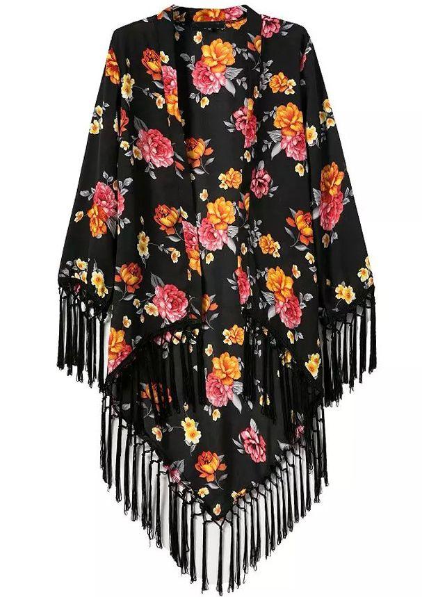 Kimono manga larga flores flecos-(Sheinside)  ccb28475c0ed