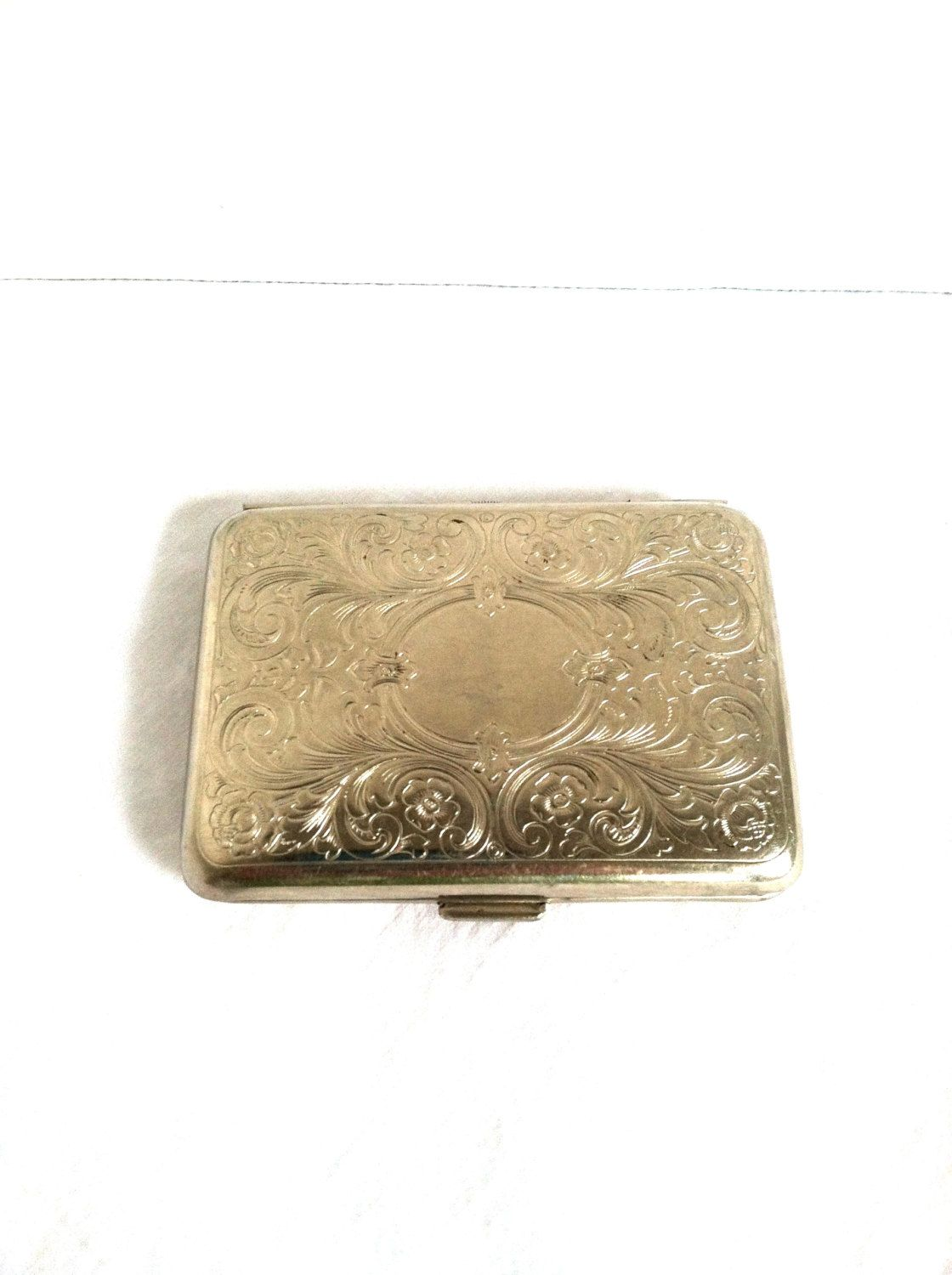 Art Nouveau Embossed Floral Silver Plated Damask Business Cigarettes