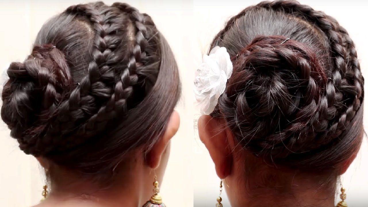 easy bridal bun hair style for long hair || ladies hair