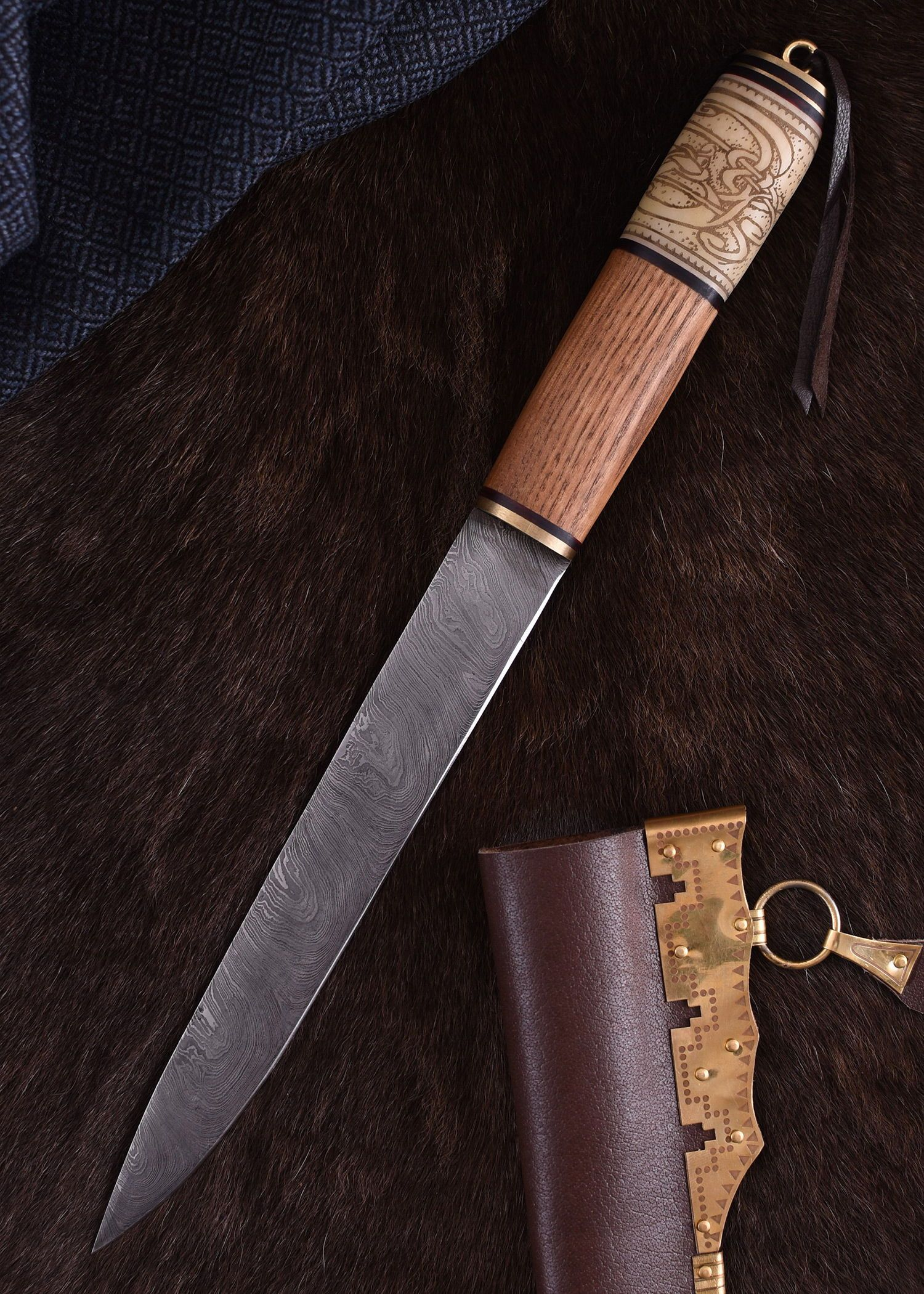 Viking Knife With Damascus Steel Blade And Wood And Bone Handle With Knot Pattern Wikinger Messer Damaststahl Holz Kno Damascus Steel Opinel Knife Knife