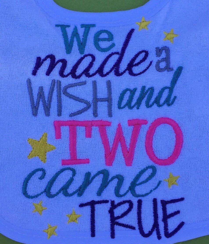 Twins Baby Bib, We made a Wish and two came true, Twin shower present, Twins Boy Girl Present Bib by PryncessStitch on Etsy
