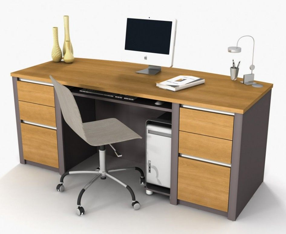 furniture contemporary office desks with drawers and computer rack