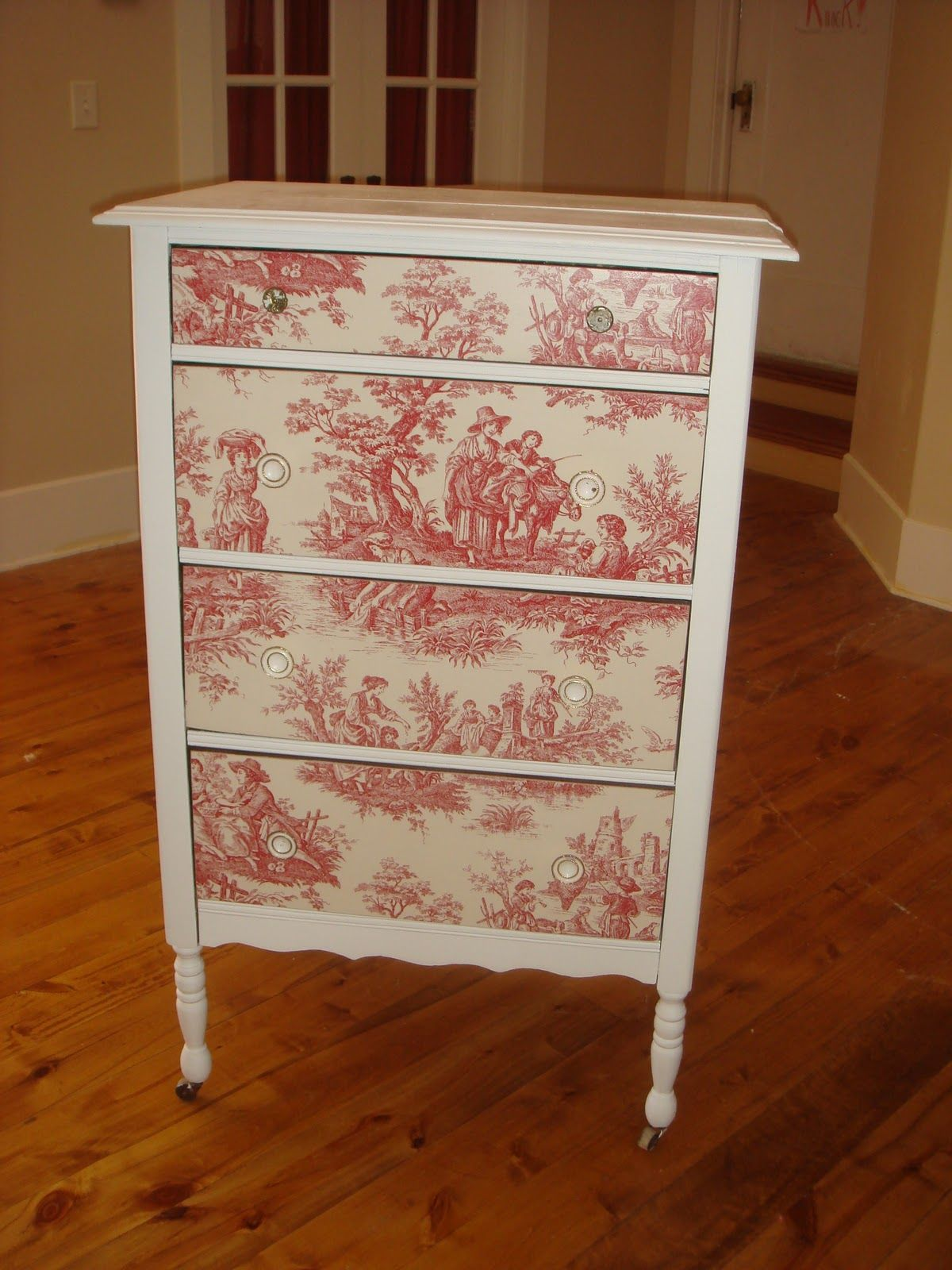 wallpaper furniture | Red and White Toile Dresser | NIGHT STANDS ...