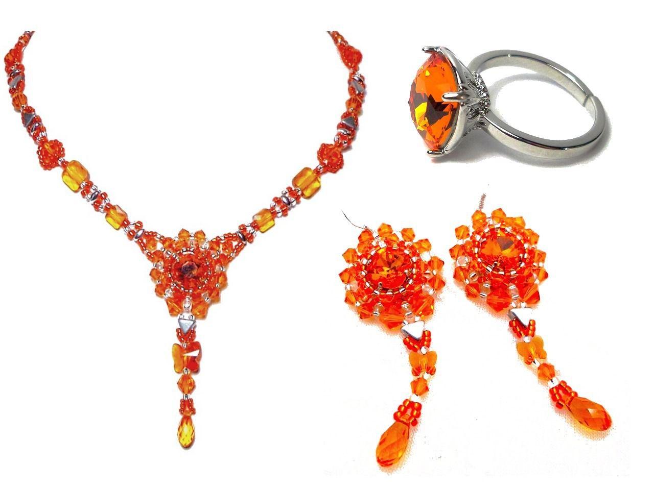 Parure précieuse baroque de créateur orange argent collier boucles d'oreilles bague haute couture : Parure par bijouxdart