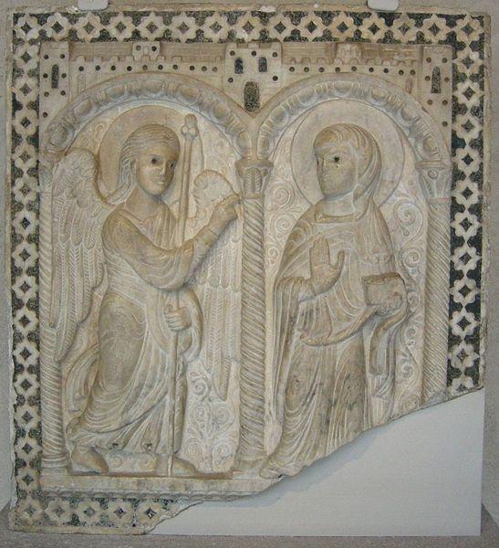 File:Rilievo dell'annunciazione da un pulpito, toscana, 1200 ca..JPG