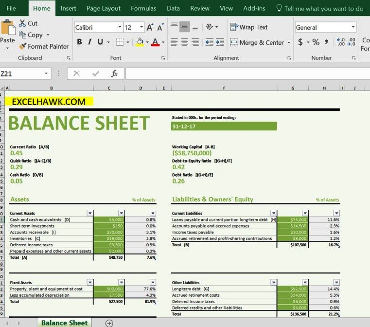 Balance Sheet With Formulas In Excel Template Balance Sheet Excel Templates Excel