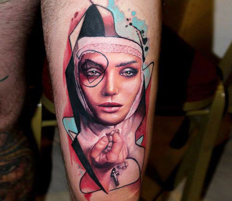 Nun Face Tattoo By Dave Paulo