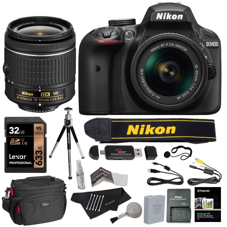 Nikon D3400 Dslr Camera 18 55mm Lens Kit Black 32gb Card Value Bundle Nikon Dx Photography Equipment Nikon