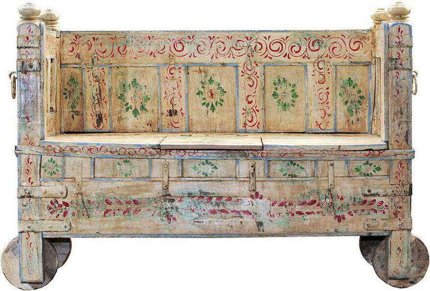 Peachy Memory Lane Hand Painted Wooden Storage Bench Craftsman Evergreenethics Interior Chair Design Evergreenethicsorg