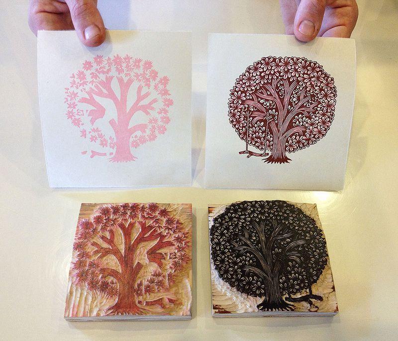 """TREE SWING"" Woodcut Print // Printing Process | Flickr - Photo Sharing!"