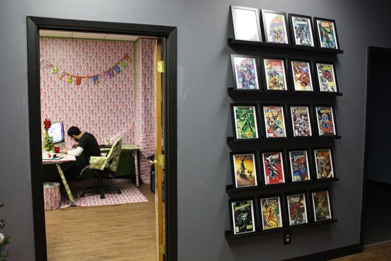 The new image freedom office interior design pinterest for Comic book box shelves