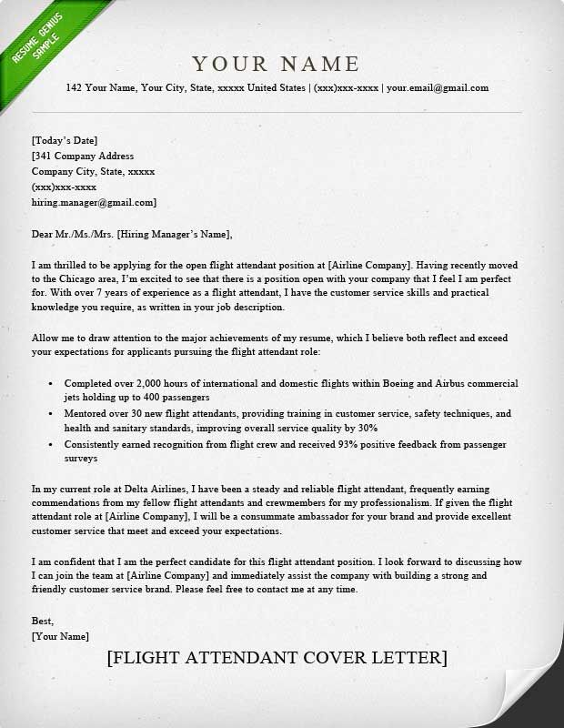 Cover Letter Example For Emirates Cabin Crew Templates Flight Attendant  Classic