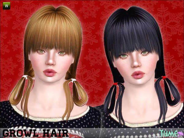 Yume Growl Short Hair With Bent Ponytails By Zauma Sims 3