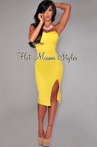 c4c1886648a12 Yellow Slit Strapless Padded Midi Dress….BEAUTIFUL   Fashion ...