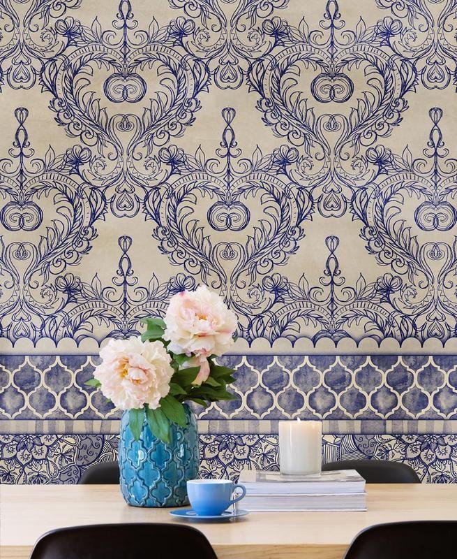 papier peint vintage aux grands motifs bleu style. Black Bedroom Furniture Sets. Home Design Ideas