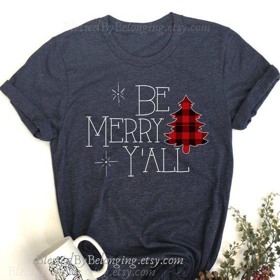 Christmas Shirt- Be Merry Y'all- Christmas Shirt for Women-Christmas Buffalo Plaid Shirt- Merry and Bright Shirt-Buffalo Check Christmas