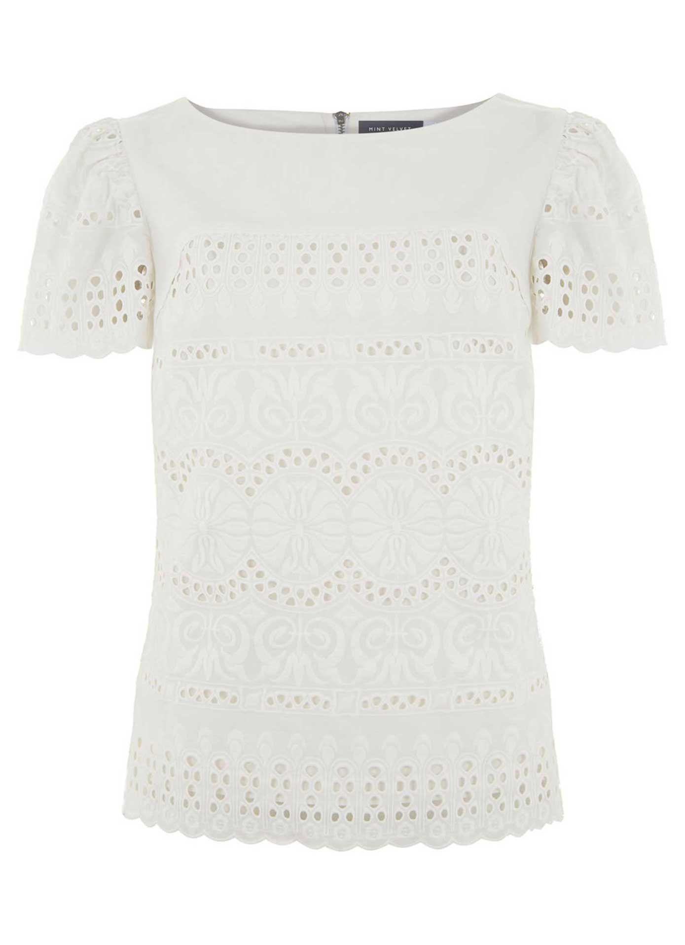 Ivory Embroidered Tee