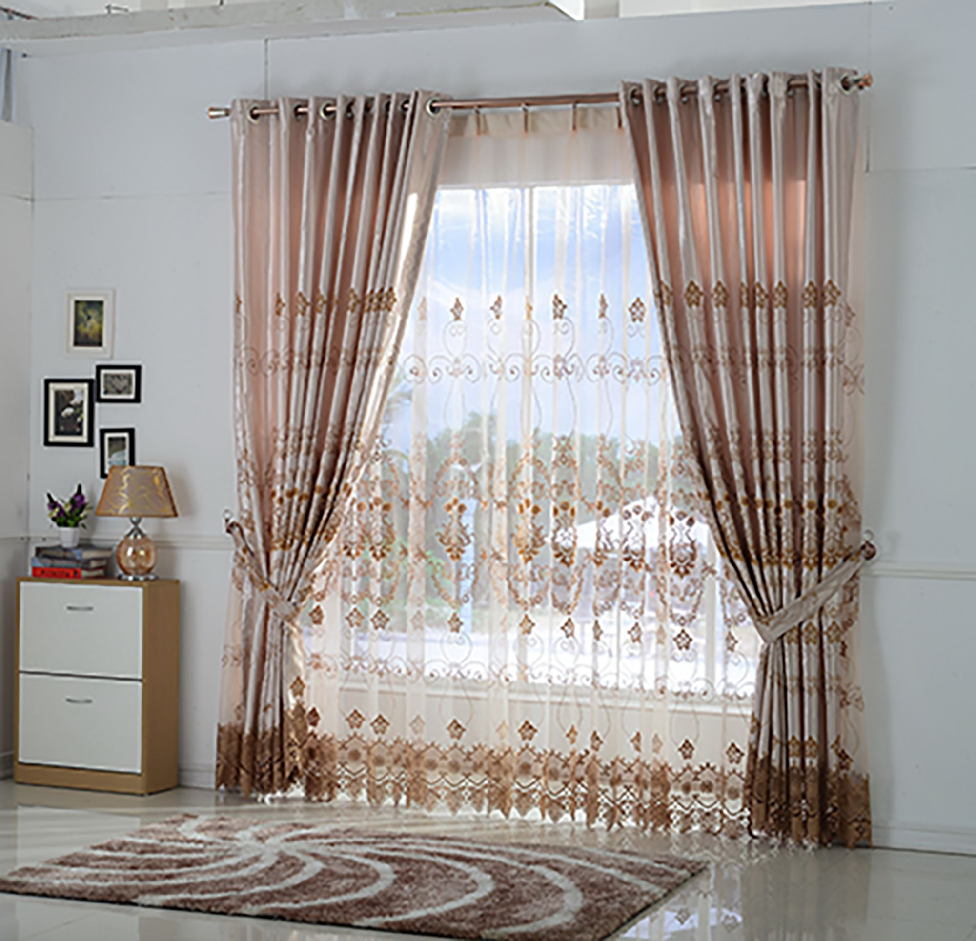 living room bay window curtain rod