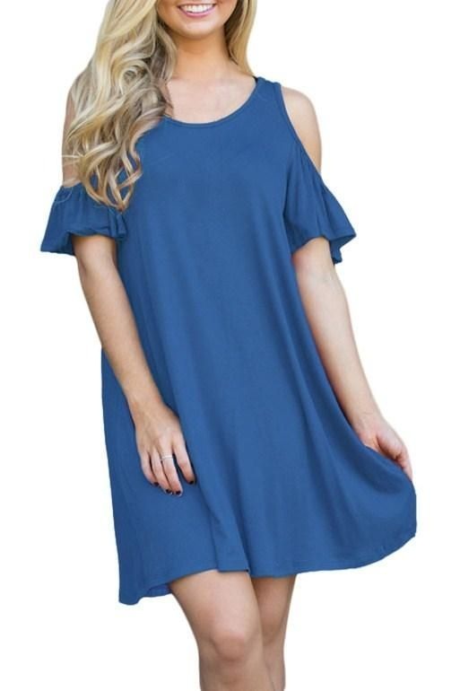 Blue Naughty Cute Cold Shoulder Short Dress   Party Dresses ...