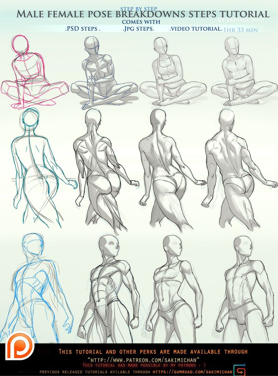 male/female pose breakdown steps tutorial pck(term 49) | Mensch ...