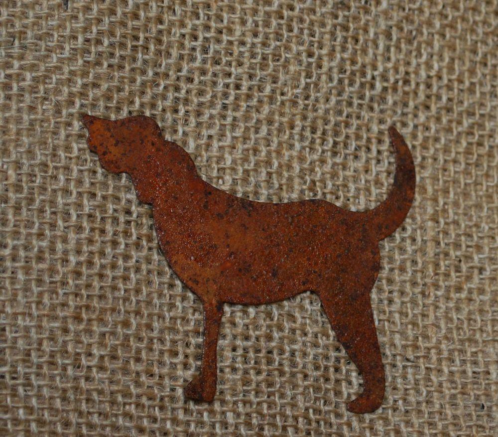 Rusty tin craft supplies - 2 Rusty Tin Dog Metal Crafts
