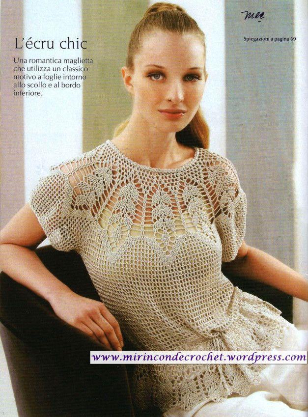 Blusa con gráfico y paso a paso   Mi Rincon de Crochet