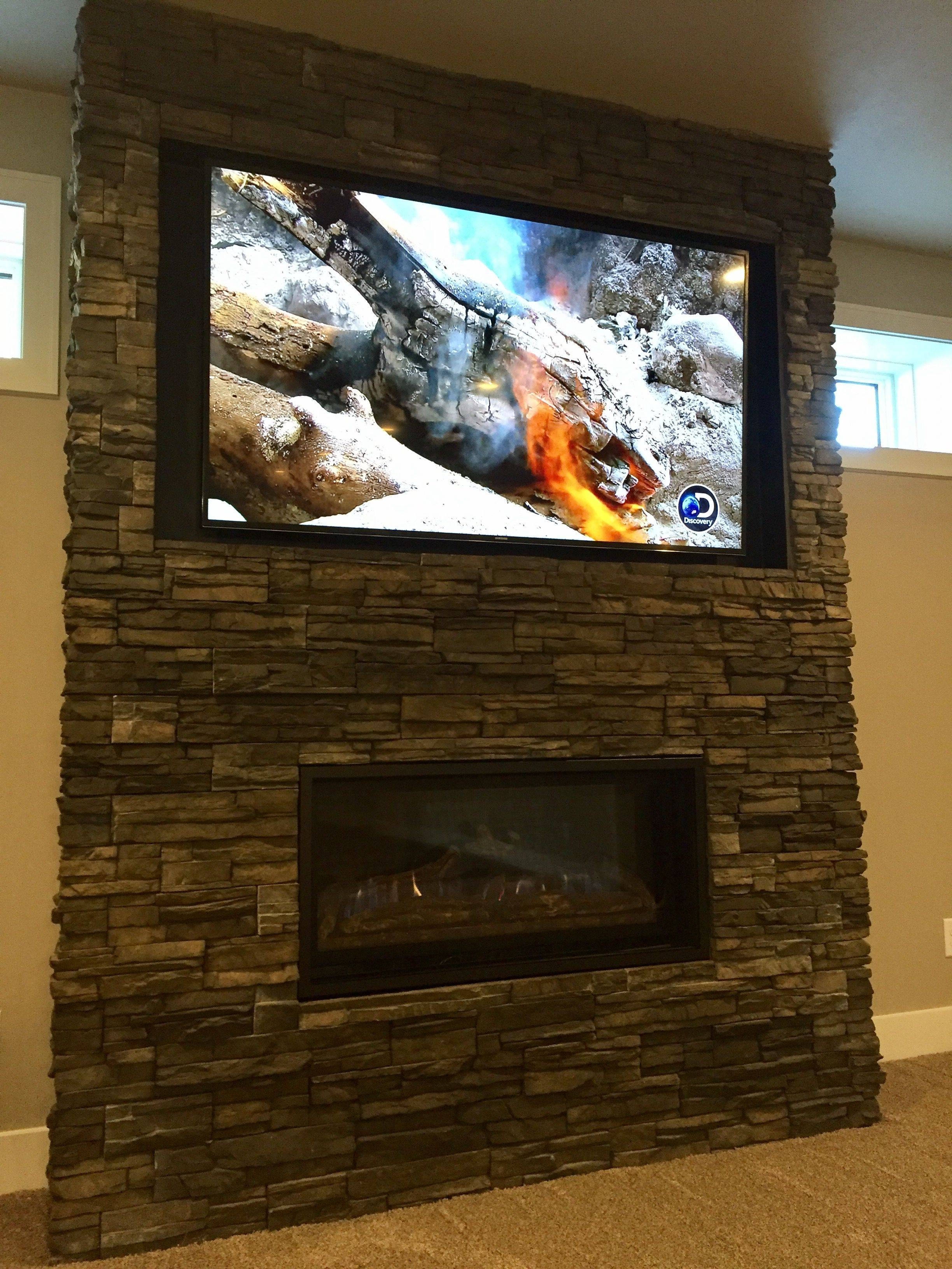 Chapel Hill Stacked Stone Fireplace Surround Linear Gas