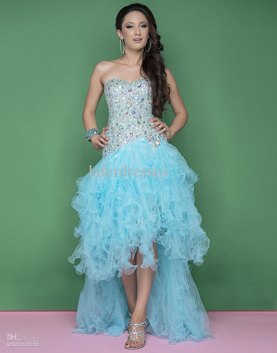 Designer front short long back prom dresses gown crystal beads