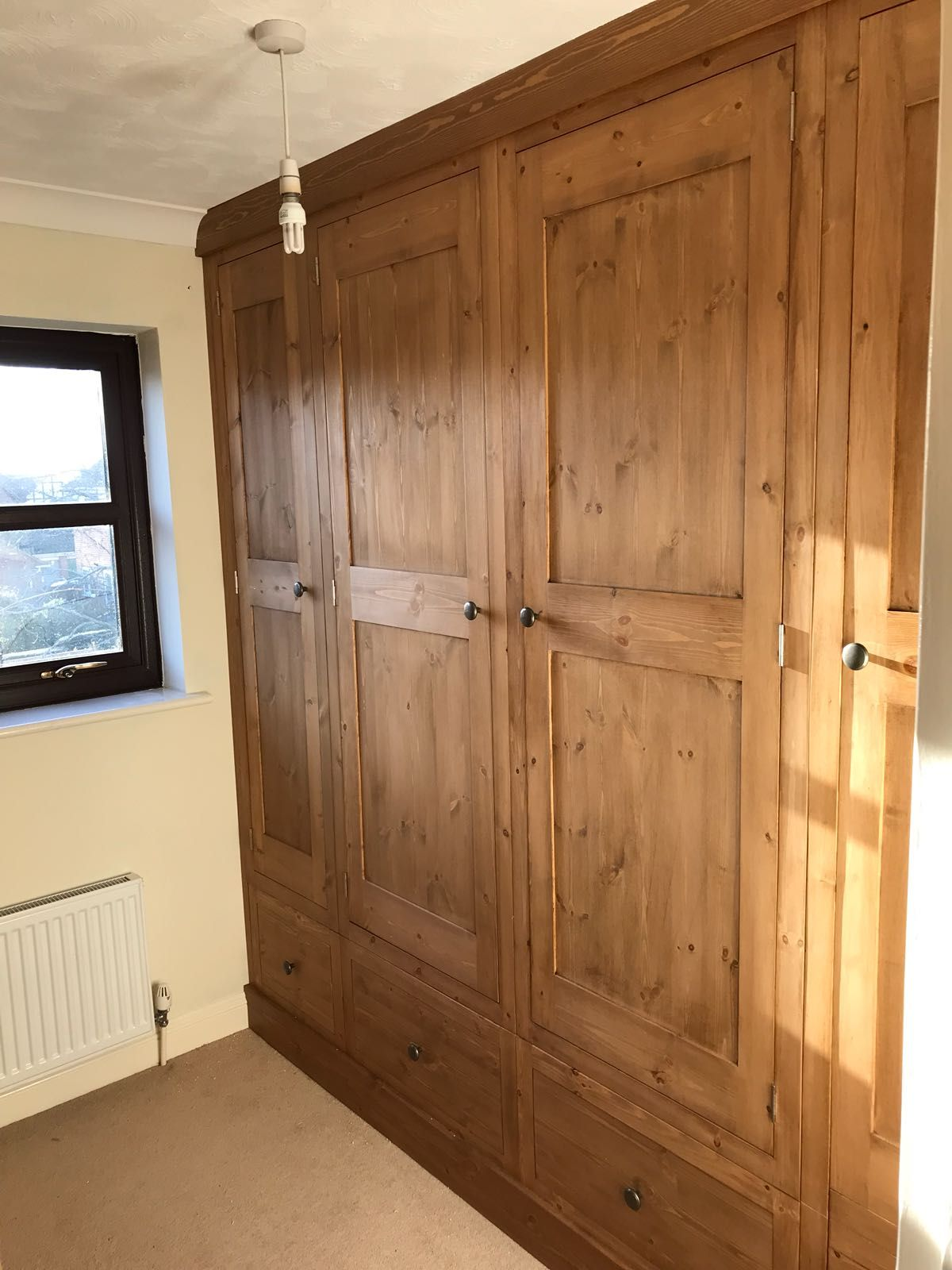 Fitted Pine Wardrobes Including Shelving Full Hanging And Double Hanging Rails Made To Order By Cobwebs Furnit Oak Bedroom Furniture Furniture Pine Furniture
