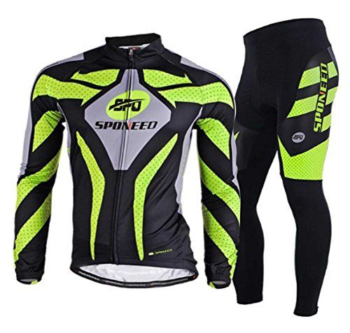 Sponeed Bicycle Bike Jersey Bib shorts Cycling men Jacket Winter Cycling  Long Green Size M     You can get additional details at the image link. 41b3942a0