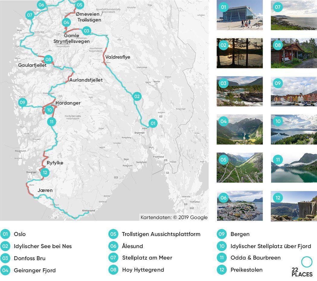 Norwegen Rundreise Unsere Route Die Besten Tipps Karte In
