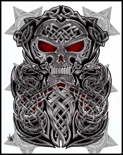 Celtic Skull Half Sleeve By Shepush On Deviantart Sleeve Tattoos Full Sleeve Tattoos Celtic Sleeve Tattoos