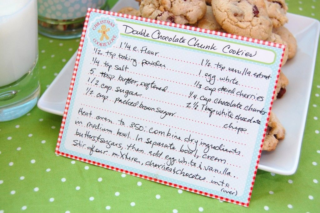 Free} Gingerbread Christmas Cookies Free Printable Recipe Card ...