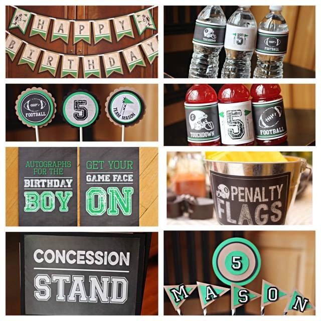 Boy Football Birthday Party Decorations.  8 piece party box.  Chalkboard / Green / Vintage Sports. by CharmingTouchParties on Etsy
