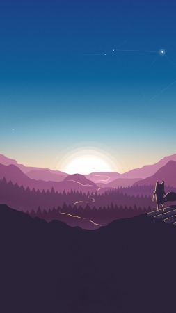 forest, sunset, fox, 4k (vertical) imagens)