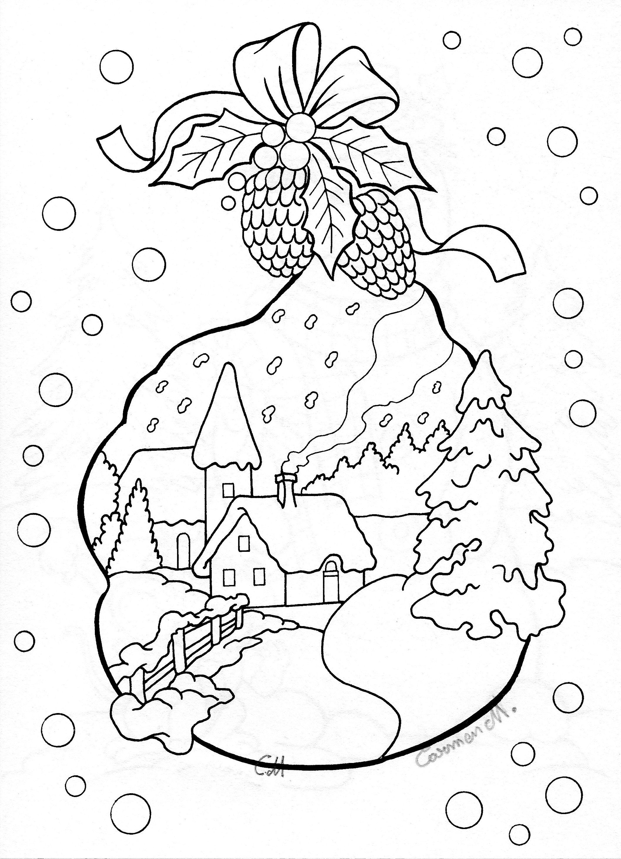 Christmas village Coloriage