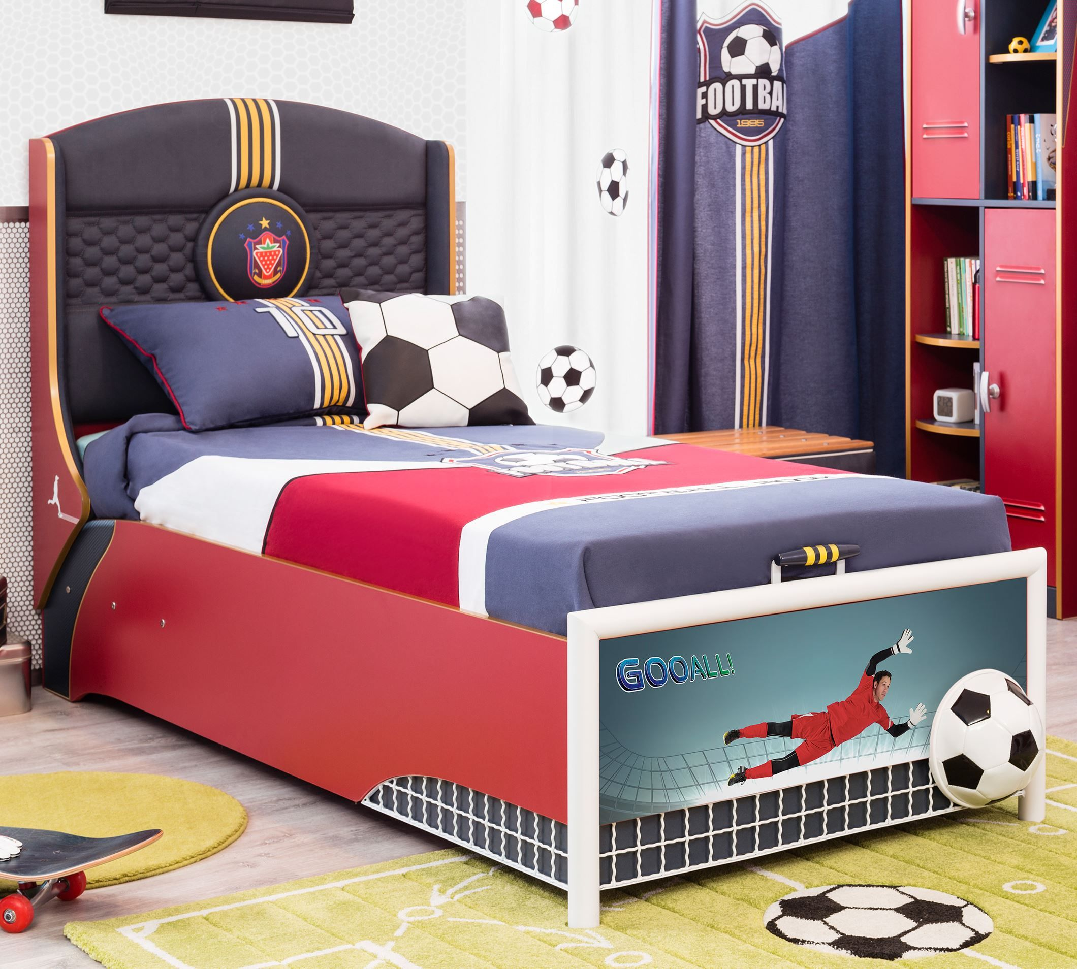 cilek football bett mit bettkasten kostenloser versand. Black Bedroom Furniture Sets. Home Design Ideas