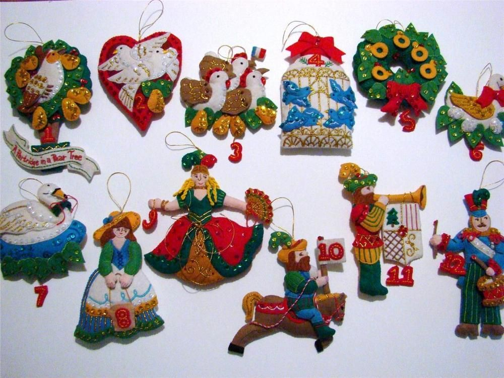 Bucilla Felt Partridge In A Pear Tree 12 Days Of Christmas Ornament Set Finished Christmas Ornament Sets Christmas Ornaments Ornament Set