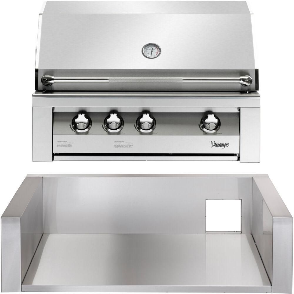 Almo 36 In Built In Natural Gas Grill In Stainless With Insulated Jacket Silver Built In Grill Outdoor Kitchen Design Stainless Steel Grill