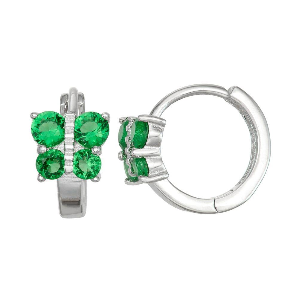 22b58c95b Junior Jewels Kids' Sterling Silver Simulated Birthstone Butterfly Hoop  Earrings, Green