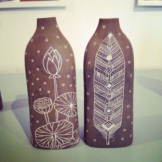 Back view of new vases by #blossomyoung #moonrisestudios #australianceramics