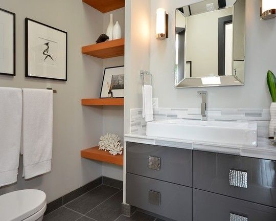 Fresh Color Combo Orange Gray Modern Bathroom Design Trendy Bathroom Modern Bathroom